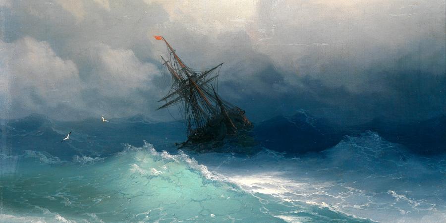 Иван Айвазовский, «Корабль в бушующем море», холст, масло, 1858