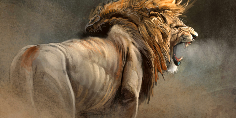 Рычащий лев на картине