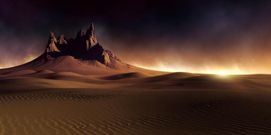 Чёрное небо над горой в пустыне