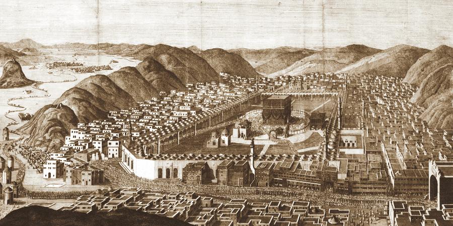 Панорама окрестностей Каабы на старинном изображении, Мекка