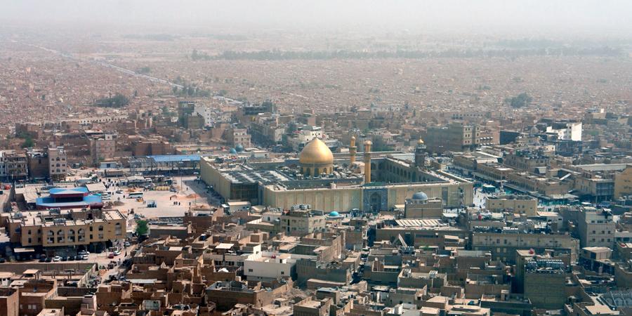 Вид на харам Имама Али днём с высоты птичьего полёта, Наджаф, Ирак