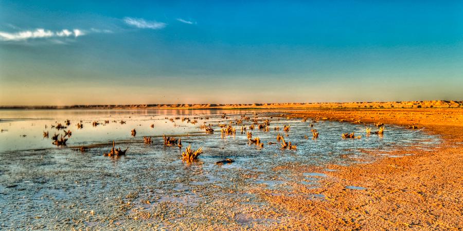 Берег озера на закате, Наджаф, Ирак