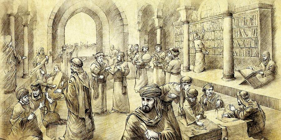Изображение одного из помещений багдадского Дворца мудрости