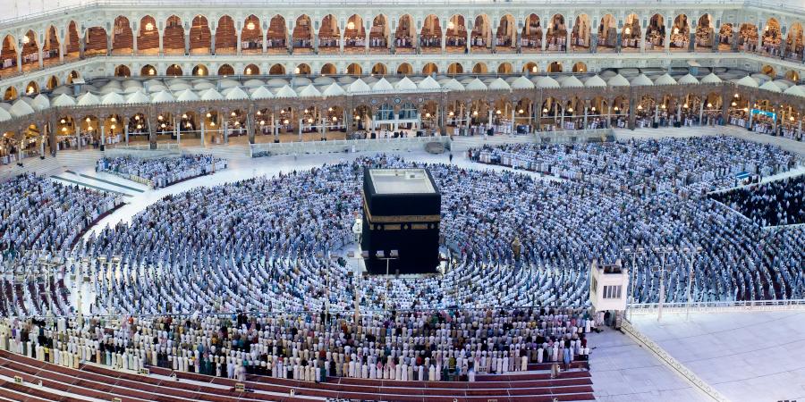 Панорамный вид на Священную Каабу, Мекка, Саудовская Аравия