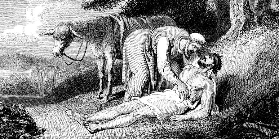 Гравюра, изображающая доброго самаритянина