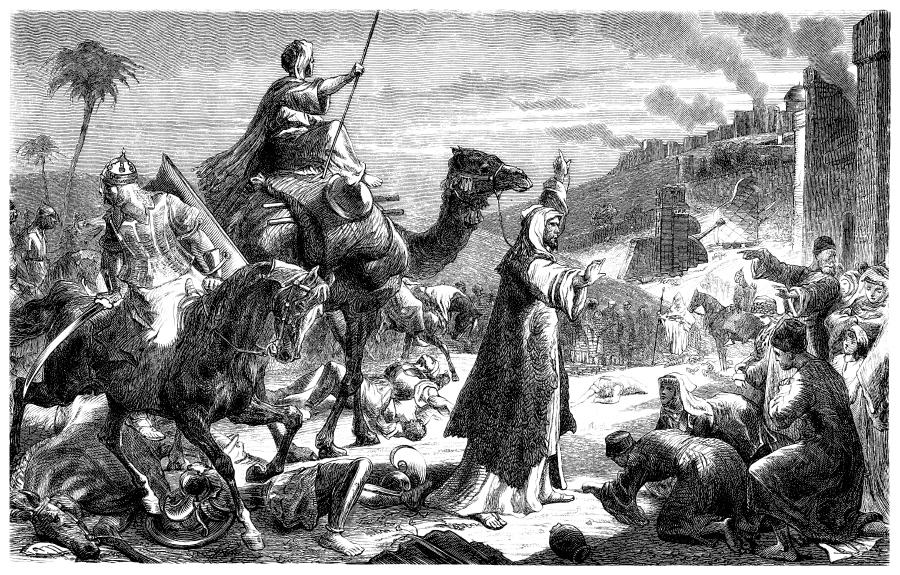 Гравюра с изображением Умара ибн Хаттаба, въезжающего в Иерусалим
