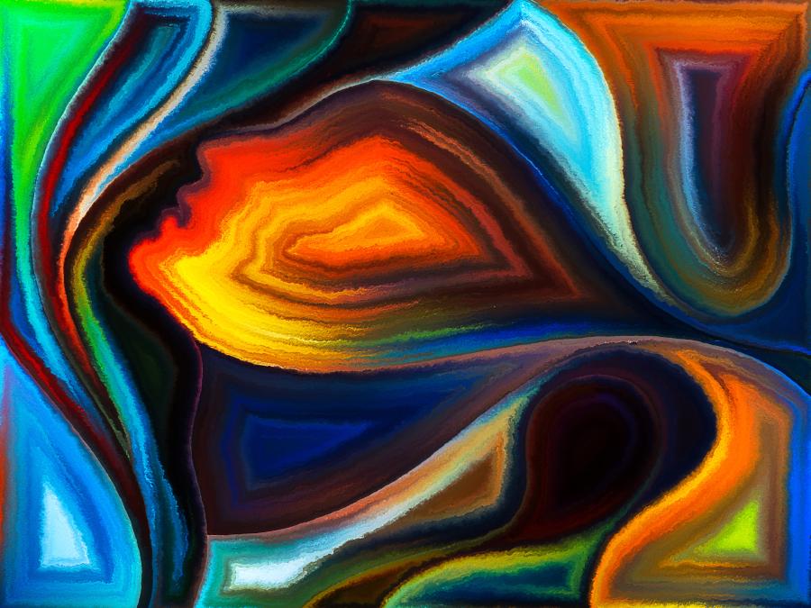 Абстрактное изображение человека с поднятой головой