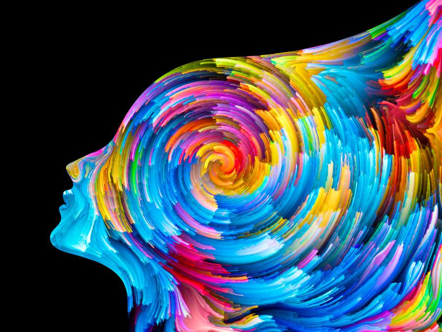 Абстрактное изображение женщины с поднятой головой