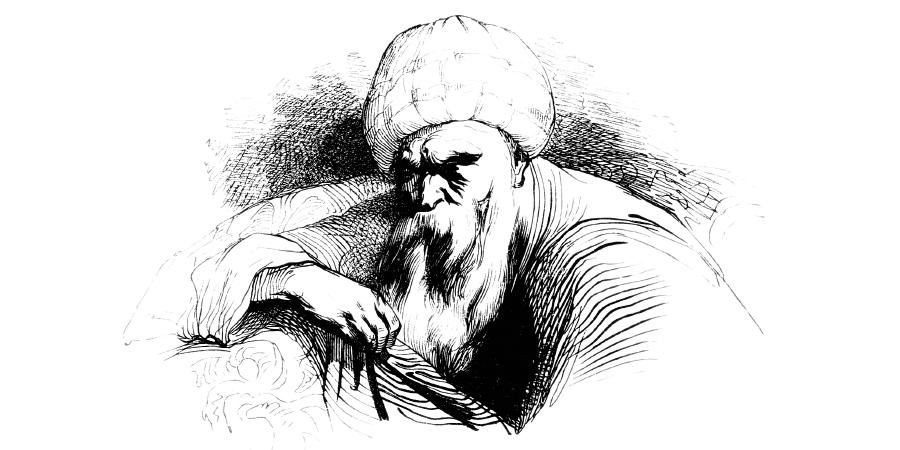 Рисунок старого араба в чалме