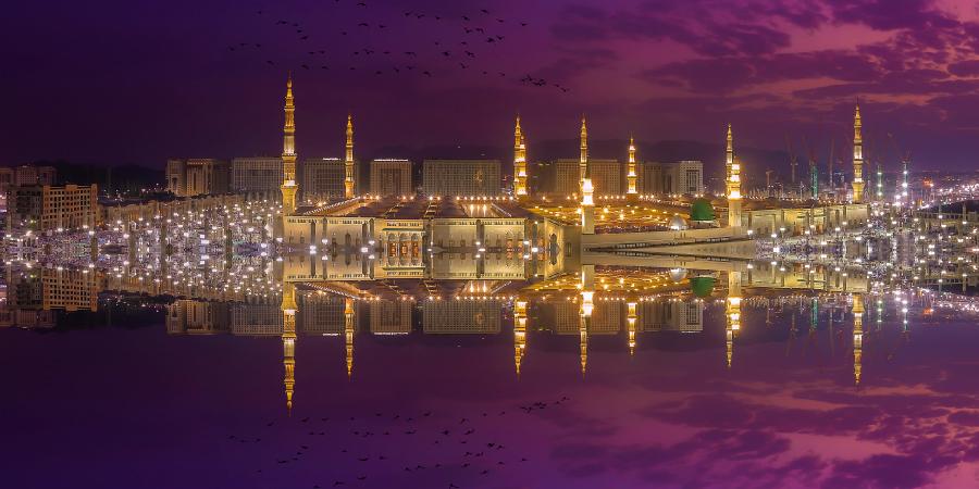 Художественная панорама мечети Пророка, Медина, Саудовская Аравия