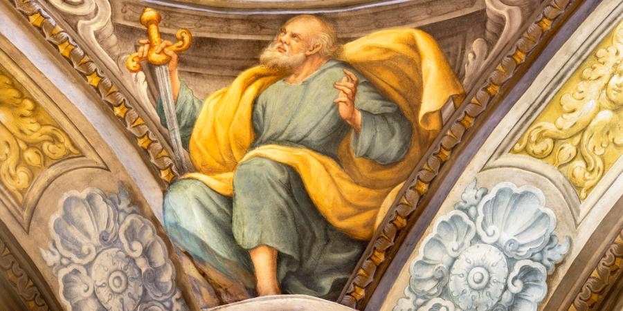 Итальянская фреска с изображением апостола Павла
