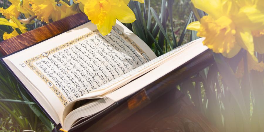 Открытый Коран среди цветов