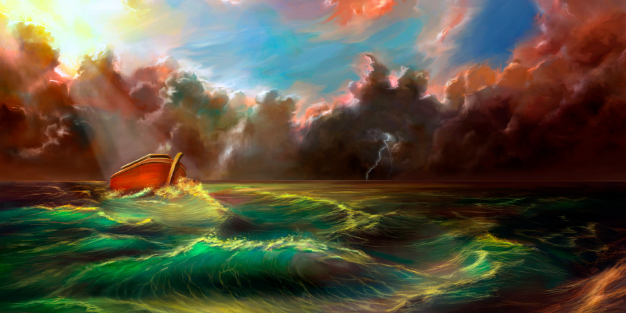 Ковчег пророка Нуха, плывущий по морю