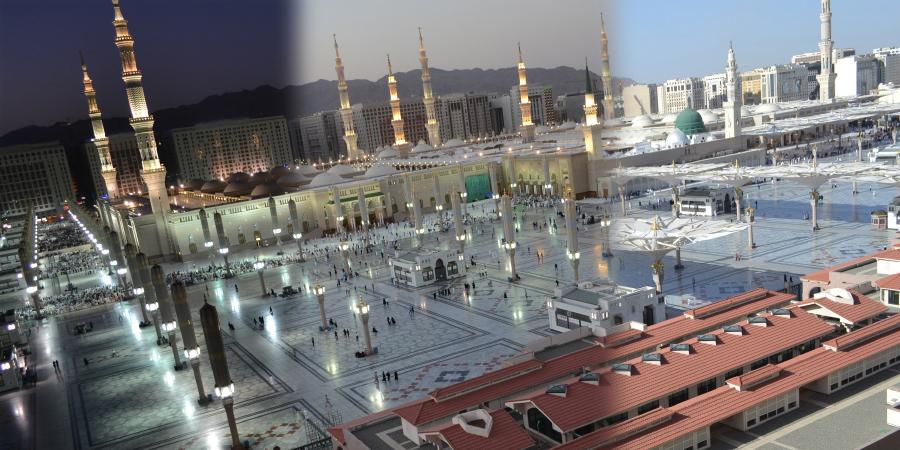Панорама мечети Пророка в разное время суток, Медина, Саудовская Аравия