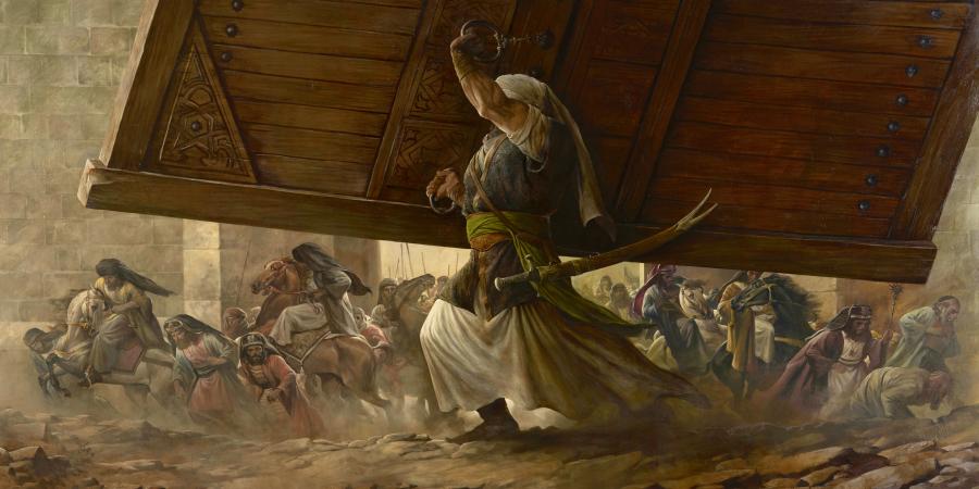 Картина с изображением Имама Али, держащим над собой ворота крепости Хайбар