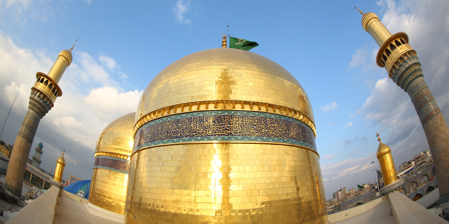 Панорама куполов харама Имамов Казыма и Джавада