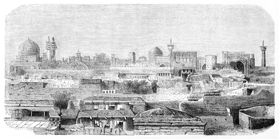 Гравюра с изображением древнего Мешхеда, Иран